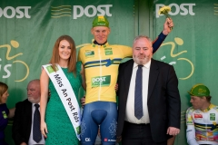 REPRO FREE***PRESS RELEASE NO REPRODUCTION FEE*** 2017 An Post Ras Stage 1, Dublin Castle to Longford 21/5/2017 Yellow Jersey - An Post winner Nicolai Nielsen (Riwal Platform Cycling) with Miss Longford Caroline Doyle and Kevin Cox, Delivery Services Manager Longford Mandatory Credit ©INPHO/Morgan Treacy