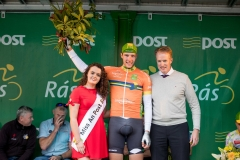 REPRO FREE***PRESS RELEASE NO REPRODUCTION FEE*** 2017 An Post Ras Stage 2, Longford To Newport 22/5/2017 Miss An Post Ras Newport Louise Moran with Stage Winner, Jan Willem Van Schip (Netherlands Delta Cycling Rotterdam) and Ger Dawson, Delivery services Manager Westport Mandatory Credit ©INPHO/Morgan Treacy
