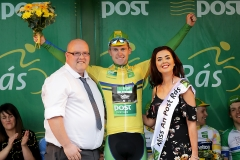 REPRO FREE***PRESS RELEASE NO REPRODUCTION FEE*** 2017 An Post Ras Stage 4, Bundoran to Buncrana 24/5/2017 An Post Chain Reaction's Matthew Teggert, winner of the Post Parcels Yellow Jersey receiving it from Gavin McDaid, acting delivery service manager Lifford DSU and Miss An Post Ras Buncrana Niamh McDaid Mandatory Credit ©INPHO/Morgan Treacy