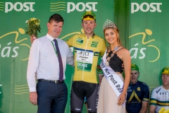REPRO FREE***PRESS RELEASE NO REPRODUCTION FEE*** 2017 An Post Ras Stage 5, Buncrana to Dungloe 25/5/2017 James Gullen, Britain JLT Condor takes the Post Parcel Yellow jersey presented by Paul Herrity, Delivery services Manager Leaseplan Letterkenny and Miss An Post Ras Dungloe, Eva Ni Dhoibhlinn Mandatory Credit ©INPHO/Morgan Treacy