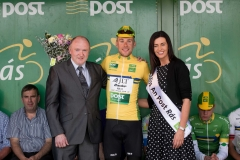 REPRO FREE***PRESS RELEASE NO REPRODUCTION FEE*** 2017 An Post Ras Stage 6, Dungloe to Donegal 26/5/2017 James Gullen, Britain JLT Condor takes the Post Parcel Yellow jersey presented by Donal McMullin, Delivery Services Manager Donegal and Miss An Post Ras Donegal, Sinead McGowan Mandatory Credit ©INPHO/Morgan Treacy