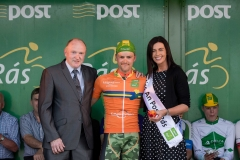REPRO FREE***PRESS RELEASE NO REPRODUCTION FEE*** 2017 An Post Ras Stage 6, Dungloe to Donegal 26/5/2017 Leaseplan Stage Winner Orange Jersey winner, Yannis Yssaad (France Arme de Terre) presented by Donal McMullin, Delivery Services Manager Donegal and Miss An Post Ras Donegal, Sinead McGowan Mandatory Credit ©INPHO/Morgan Treacy