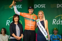 REPRO FREE***PRESS RELEASE NO REPRODUCTION FEE*** 2017 An Post Ras Stage 7, Donegal Town to Ardee 27/5/2017 Leaseplan Stage Winner Orange Jersey winner, Daan Meijers, Delta Cycling with Cllr. Dolores Minogue and Miss An Post Ras Ardee, Hana Mooney Mandatory Credit ©INPHO/Ryan Byrne