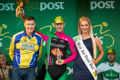 REPRO FREE***PRESS RELEASE NO REPRODUCTION FEE*** 2017 An Post Ras Stage 7, Donegal Town to Ardee 27/5/2017 First county rider over the line, Richard Maes of Killarney CC with Eamon Martin, stage organiser and Miss An Post Ras Ardee, Hana Mooney Mandatory Credit ©INPHO/Ryan Byrne